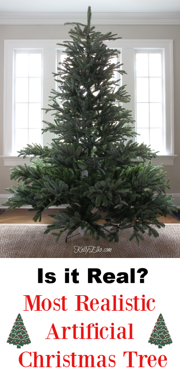 Realistic Christmas Tree - I can't believe this isn't real! kellyelko.com #christmas #christmastree #christmasdecor #christmasdecorations