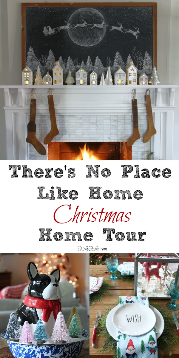 There's No Place Like Home in this Cheery Christmas Home Tour - this whimsical home is filled with creative Christmas decorating ideas kellyelko.com #christmas #christmasdecor #christmashome #christmashometour #farmhousechristmas #retrochristmas #vintagechristmas #christmasmantel #christmasstockings
