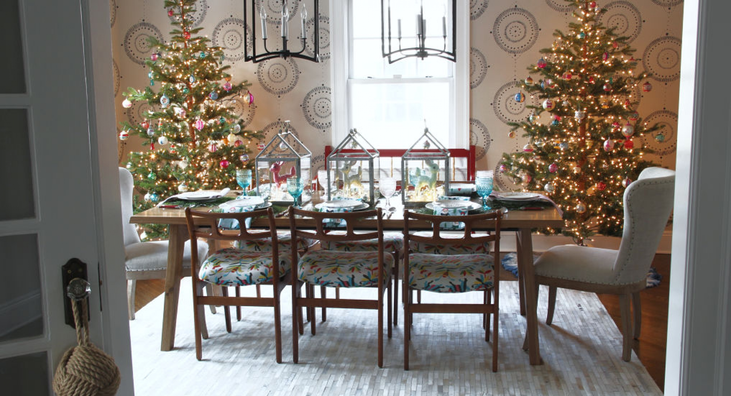 pair-christmas-trees-dining-room-vintage-shiny-brites-pastel-table-setting