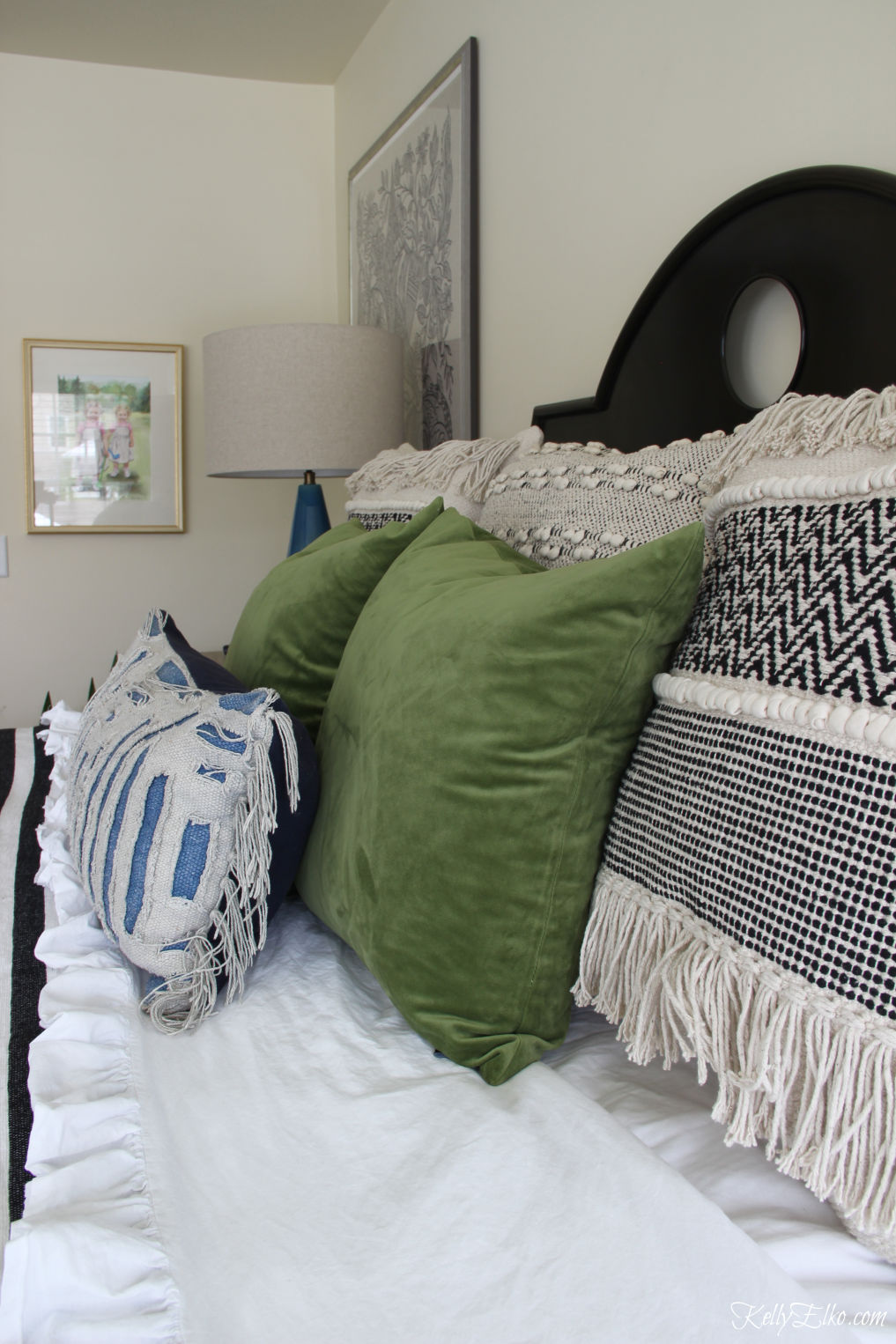 Boho bedding - love the texture of these pillows in this master bedroom kellyelko.com #pillows #bedding #masterbedroom #bedroom #bedding #bohobedroom #interiodecor
