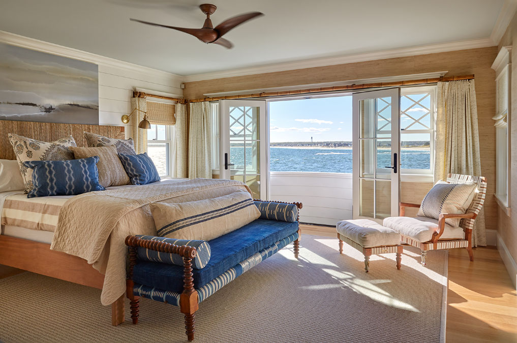 Coastal blue and neutral bedroom with a view kellyelko.com #bluebedroom #bedroomdecor #bedroomfurniture #coastalbedroom #interiordecor #interiordecorate #decorate #bluebedroom