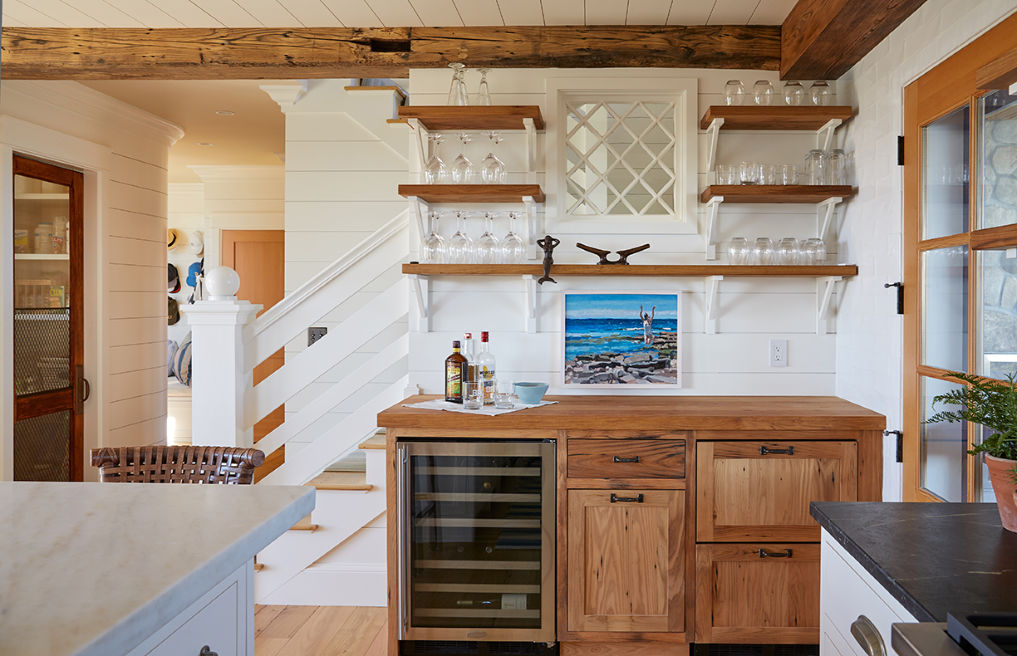 Farmhouse kitchen with shiplap walls, open shelves and rustic wood beams kellyelko.com #kitchen #kitchendecor #kitchendesign #farmhouse #farmhousestyle #farmhousekitchen #interiordecor #interiordesign