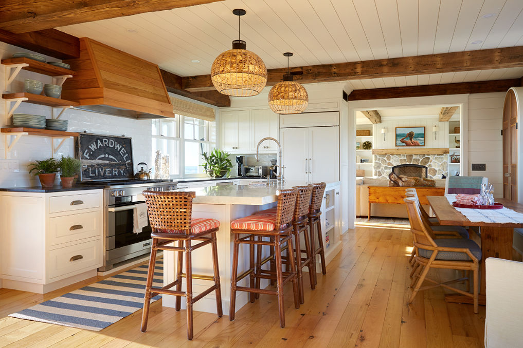 Eclectic Home Tour Nicola's Home - love this coastal home with farmhouse touches like ceiling beams and open kitchen shelves kellyelko.com #kitchen #kitchendesign #kitchendecor #farmhousestyle #farmhousekitchen