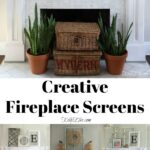 Creative Fireplace Screen Ideas kellyelko.com #fireplace #mantels #manteldecor #fireplacedecor #farmhousedecor #interiordecor #livingroomdecor