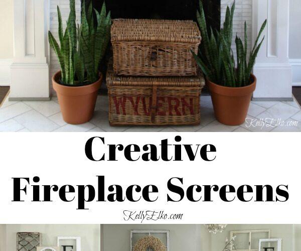 Creative Fireplace Screen Ideas kellyelko.com #fireplace #mantels #manteldecor #fireplacedecor #farmhousedecor #interiordecor #livingroomdecor