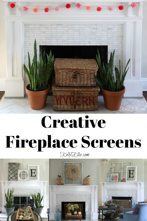 Creative Fireplace Screen Ideas kellyelko.com #fireplace #mantels #homedecor #manteldecor #fireplacedecor #interiordecor #farmhouedecor #decoratingideas #fireplaces