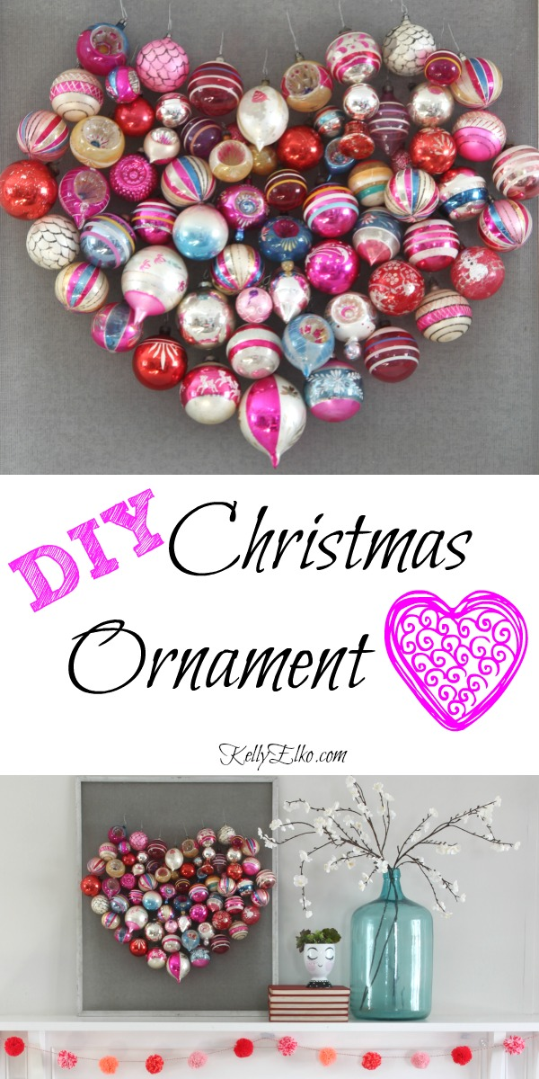 How to make a DIY Christmas Ornament Heart Screen kellyelko.com #valentinesday #valentinesdecor #valentine #valentinecraft #heart #valentinewreath #diycrafts #diydecor #valentinemantel #christmasornaments #shinybrites