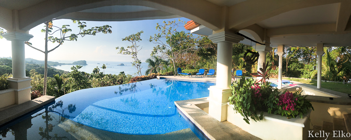 This stunning villa in Costa Rica has an infinity edge, zero entry pool with swim up bar - Costa Rica villa rental Manual Antonio kellyelko.com #costarica #quepos #manualantonio #vacation #travel #travelblog #travelblogger #escape #pool #beachvacation