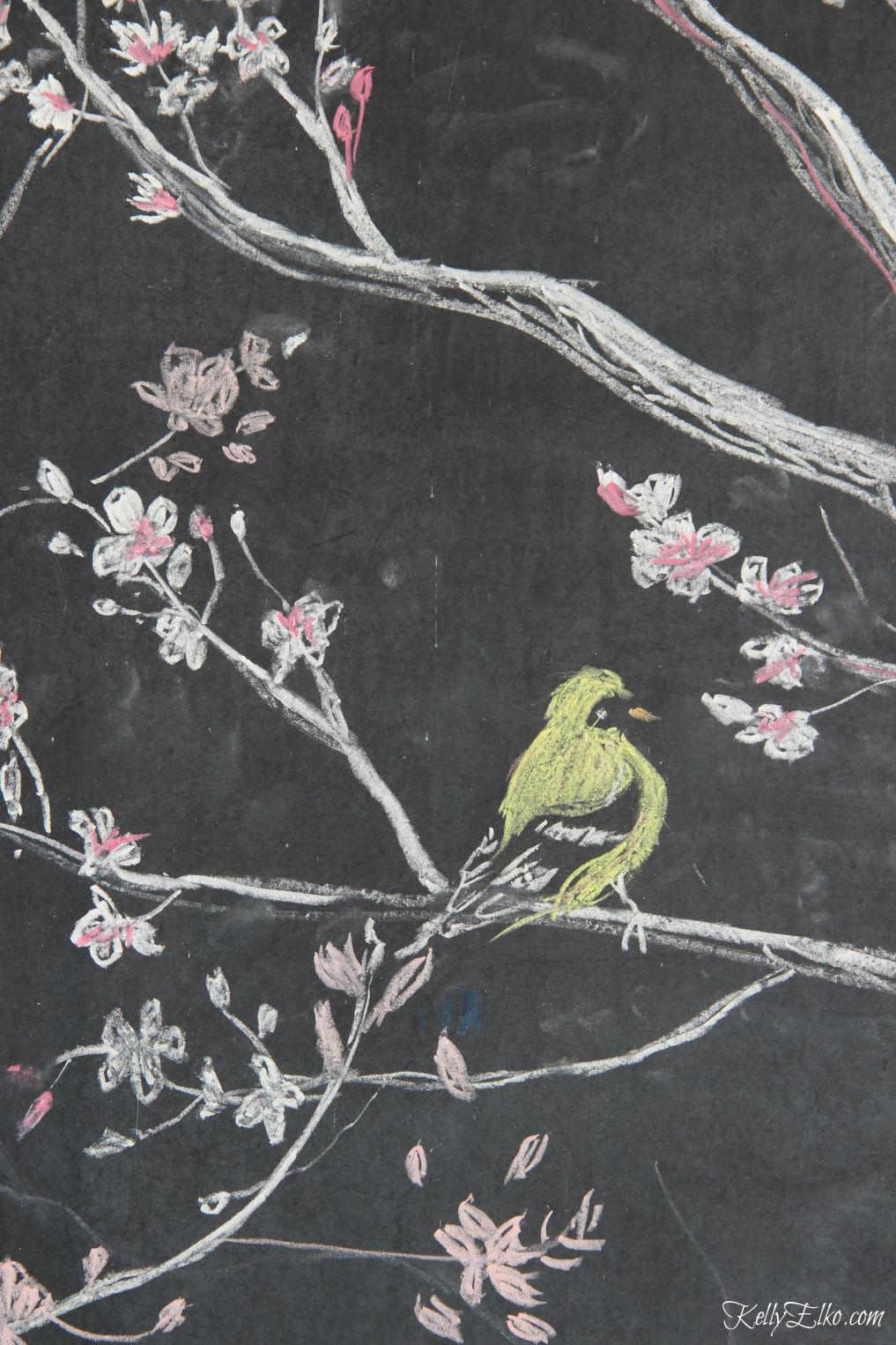 Original chalk art for spring kellyelko.com #chalkboard #chalkart #springart #springchalkboard