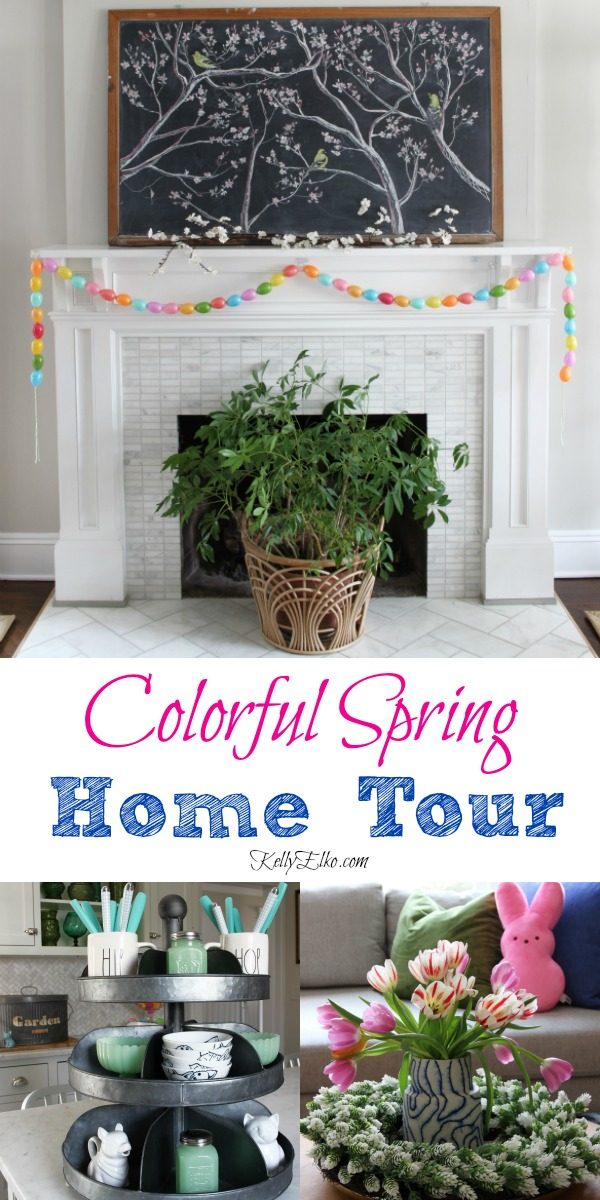 Whimsical spring home tour - love her use of color! kellyelko.com #spring #springdecor #easterdecor #springdecorating #eclecticdecor #decorate #manteldecor #houseplants #easter #easterbunny