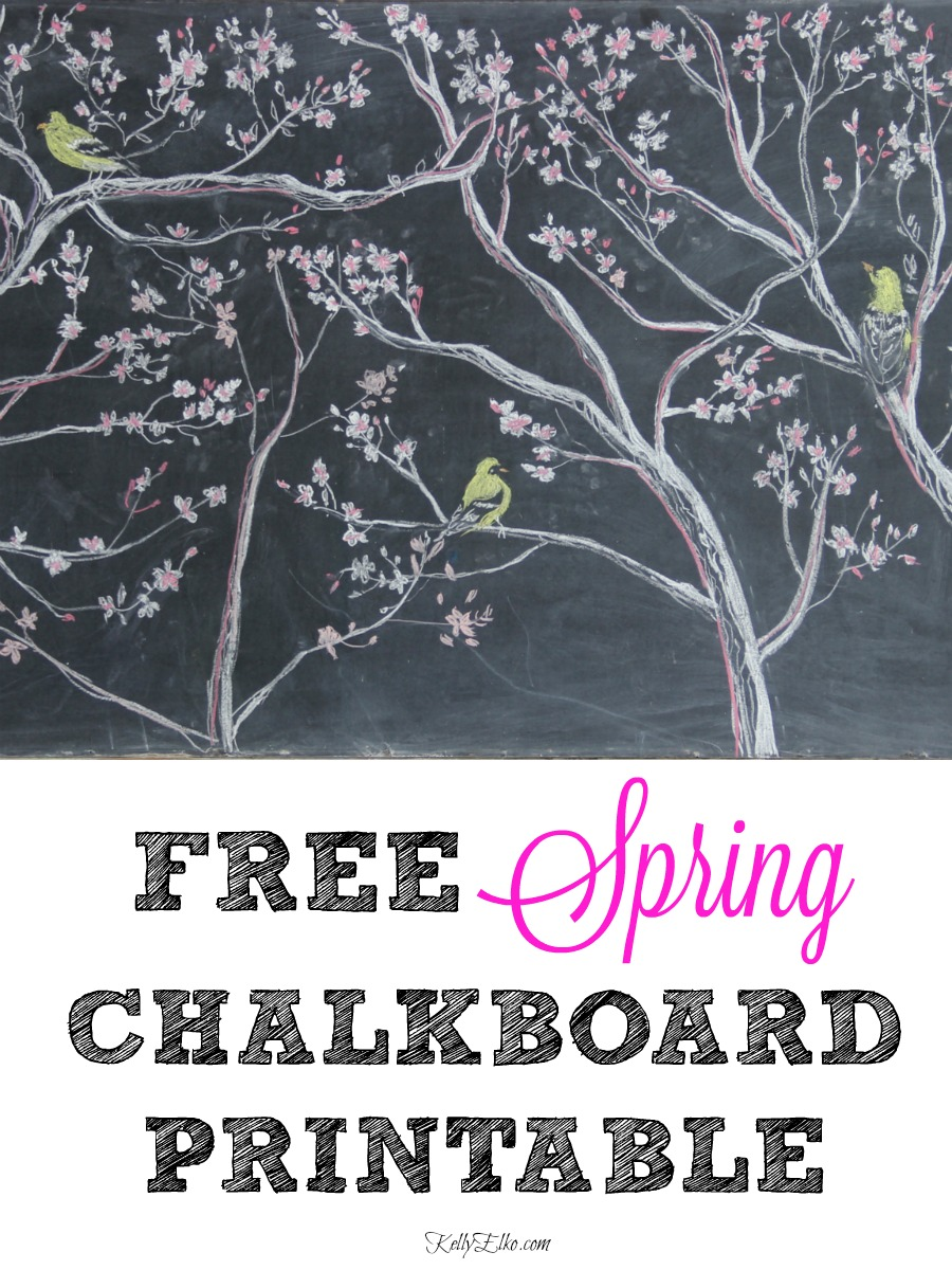 Free Spring Chalkboard Printable - love the pink and white magnolia leaves and trio of yellow birds kellyelko.com #chalkboard #chalkart #chalkboardprintable #springprintable #freeprintable #printables #art #freeart #springdecor