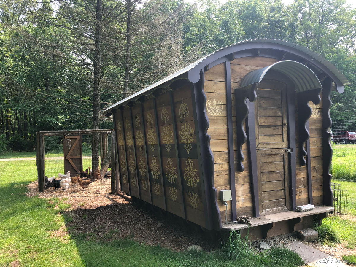 Look at this fun train caboose chicken coop! kellyelko.com #chickens #chickencoop #farmers