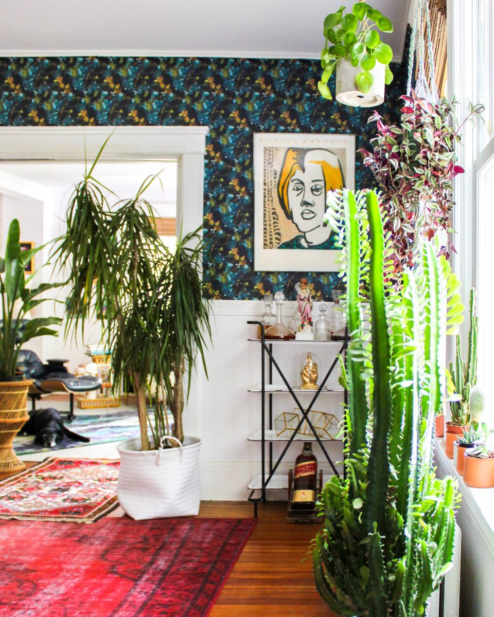 Boho home tour filled with lots of plants and vintage thrift store finds and the perfect mix of color and pattern kellyelko.com #bohodecor #vintagedecor #plantlady #barcart #vintagemodern #wallpaper