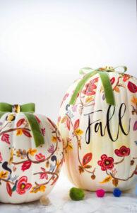 12 Creative DIY Painted Pumpkins kellyelko.com #pumpkins #pumpkincrafts #fallcrafts #paintingtechniques