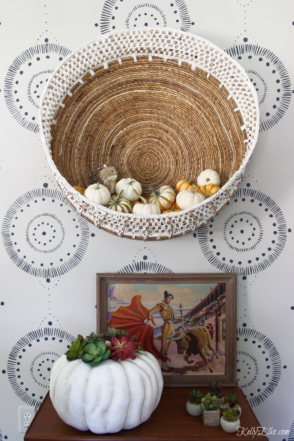 Bar Cart Styling - three different looks! Love the huge wall basket filled with pumpkins for fall and the vintage finds kellyelko.com #barcart #bohodecor #eclecticdecor #homedecor #falldecor #falldecorating #pumpkins #vintagdecor