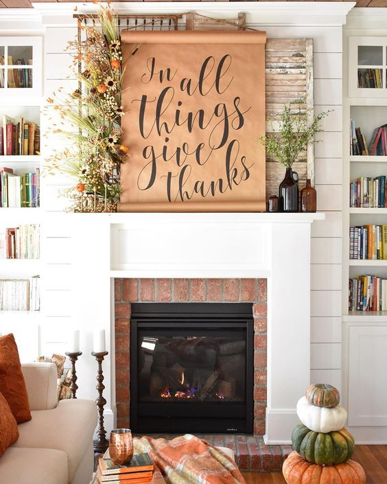12 Creative Fall Mantels - love the butcher block paper scroll kellyelko.com #fall #falldecor #fallmantel #neutraldecor #farmhousedecor #mantel #manteldecor #vintagedecor #diyideas #diycrafts