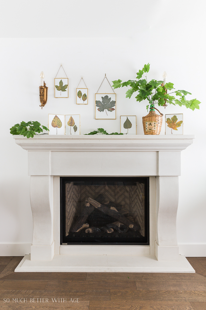 12 Creative Fall Mantels - these DIY pressed leaves are beautiful kellyelko.com #fall #falldecor #falldecorating #diyideas #fallleaves #farmhousedecor #farmhousestyle #manteldecor