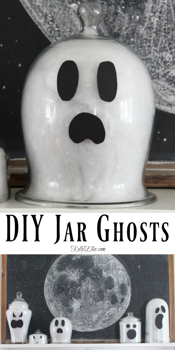 DIY Jar Ghosts - what a fun Halloween craft kellyelko.com #halloween #halloweencrafts #halloweendecor #halloweendecorations #diyhalloween #diyhalloweendecorations #ghosts