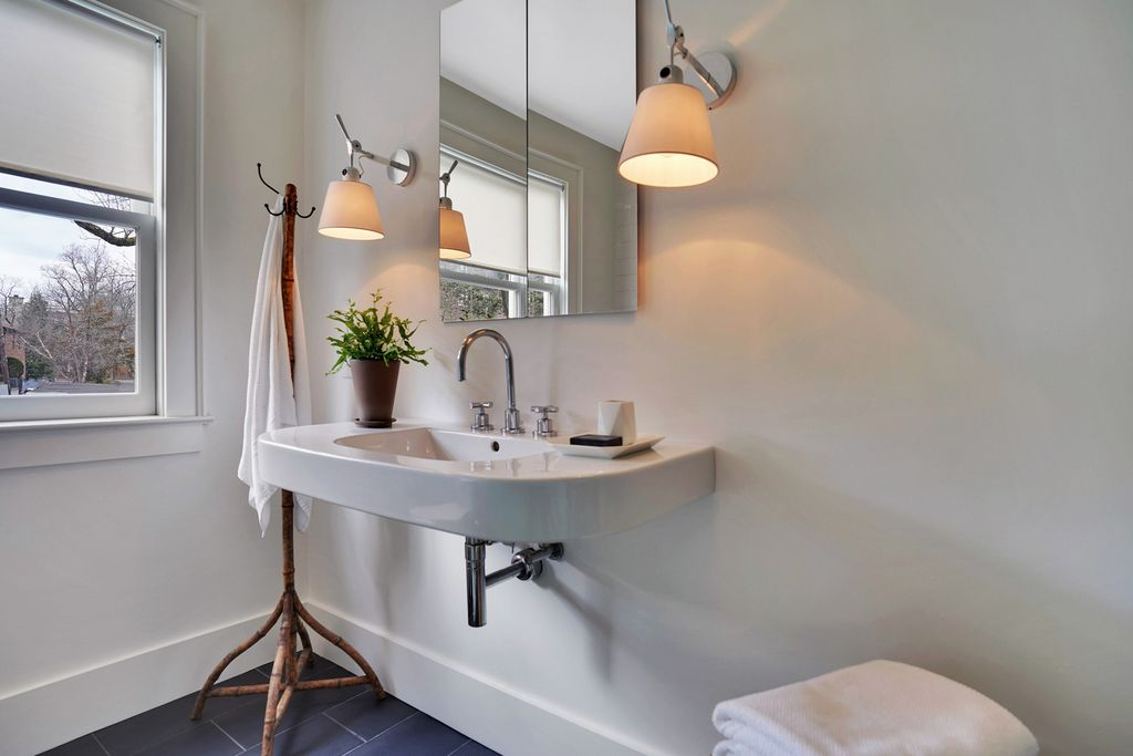 Love this Duravit sink kellyelko.com #bathroomdecor #bathroomsink #duravit #oldhouse #vintagemodern #sconces