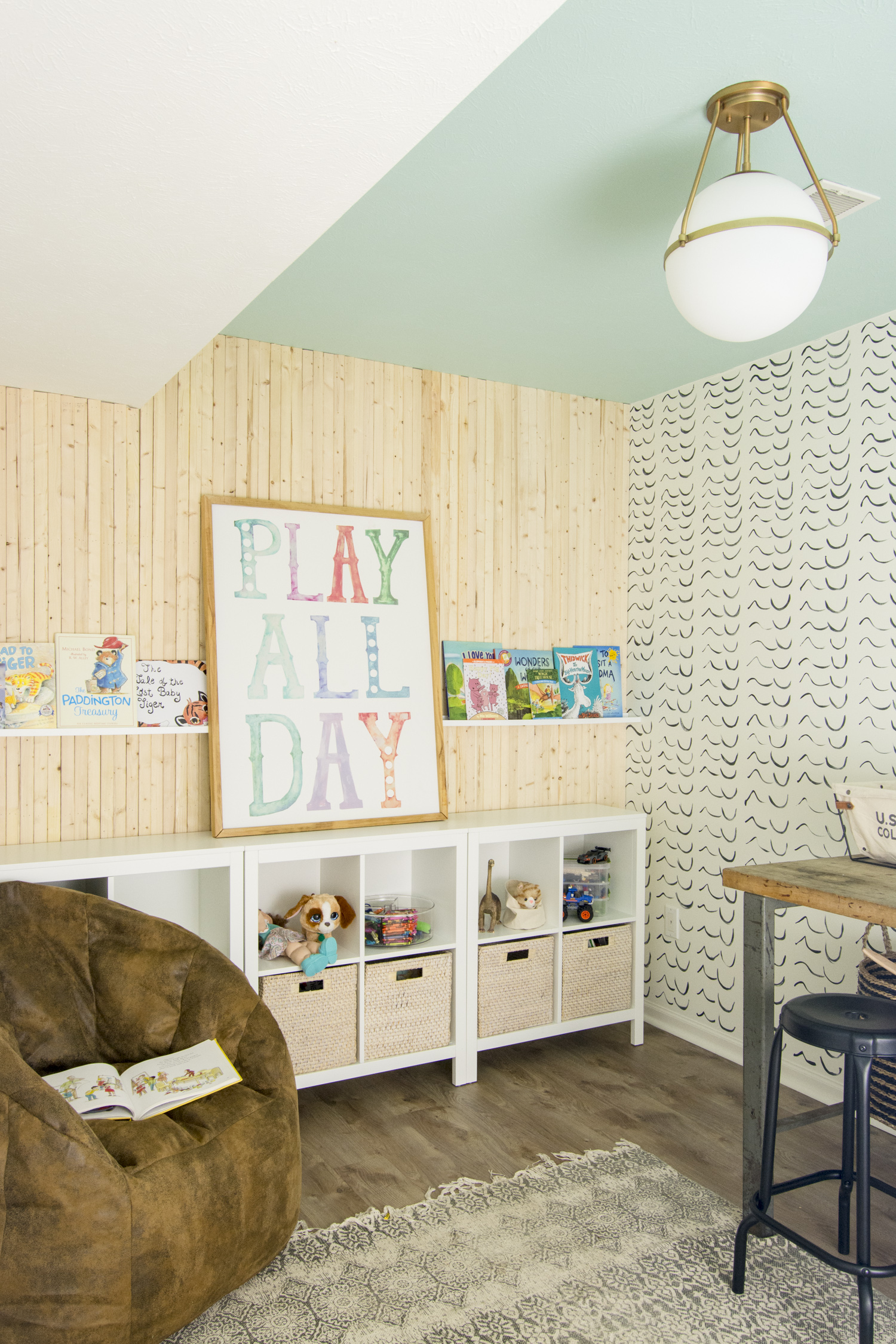 Love this cute playroom with blue ceiling kellyelko.com #playroom #kidsrooms #kidsdecor