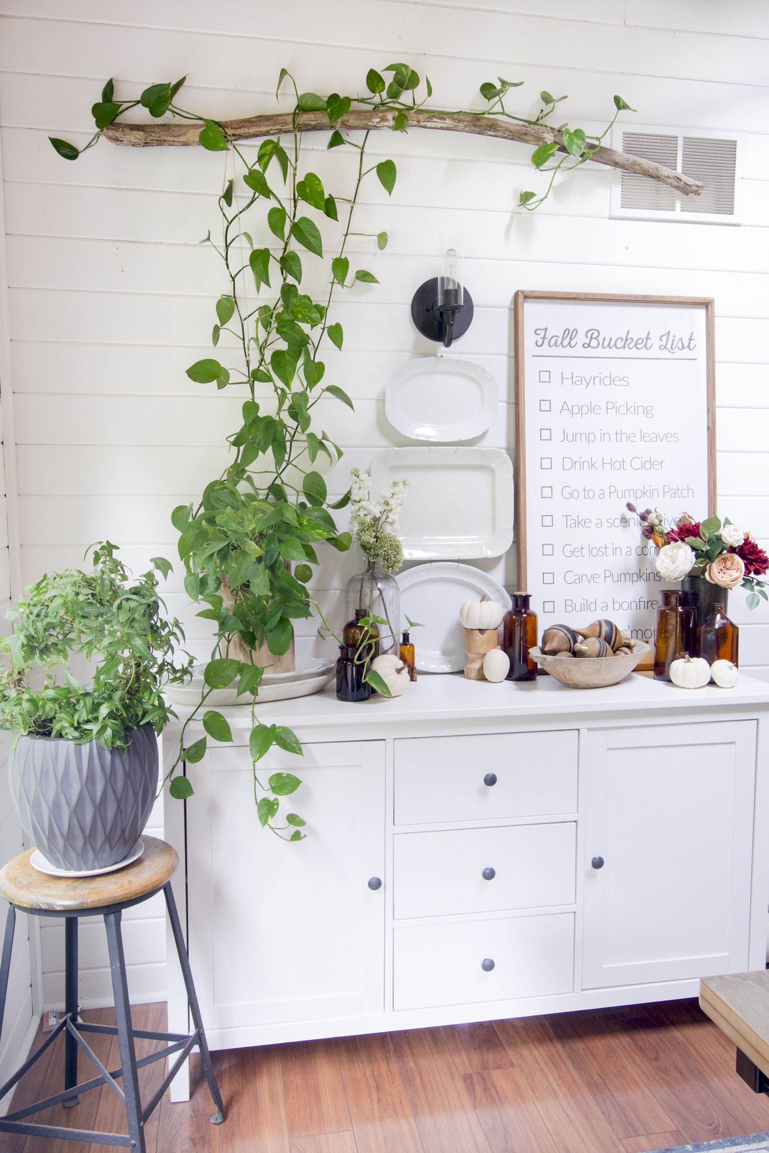 Train a pothos plant to grow up kellyelko.com #pothos #plants #houseplants #diningroomdecor #farmhousedecor