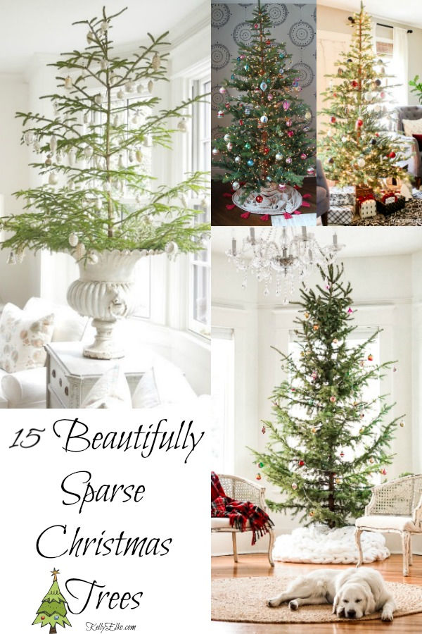 15 Sparse Christmas Trees Beautifully Decorated kellyelko.com #christmas #christmastrees #sparsetrees #silvertip #vintagechristmas #christmasdecor #christmasdecorations #christmasornaments #farmhousechristmas #kellyelko