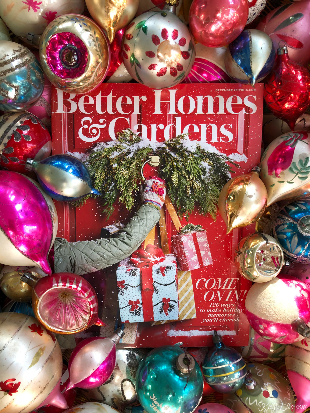 Better Homes & Gardens Christmas issue kellyelko.com #christmas #christmasdecorating #christmasdecor #shinybrites #vintageornaments #christmasornaments #bhgchristmas #kellyelko
