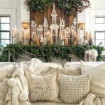 Little Christmas Houses Decorating Ideas kellyelko.com #christmas #christmasdecor #christmasmantel #vintagechristmas #neutralchristmas #farmhousechristmas