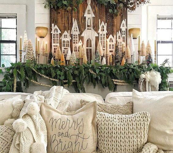 Little Christmas Houses Decorating Ideas kellyelko.com #christmas #christmasdecor #christmasmantel #vintagechristmas #neutralchristmas #farmhousechristmas