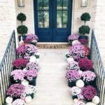 Beautiful fall front porch with purple mums kellyelko.com #fall #fallporch #mums #pumpkins #falldecor