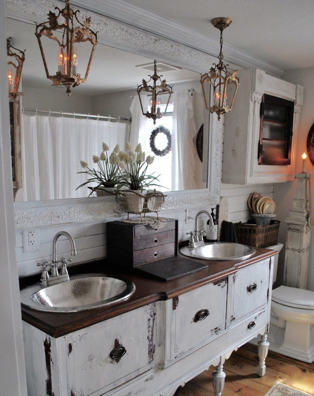 Love this antique cabinet turned bathroom vanity #bathroom #vintagebathroom #farmhousebathroom #vintagedecor #neutraldecor