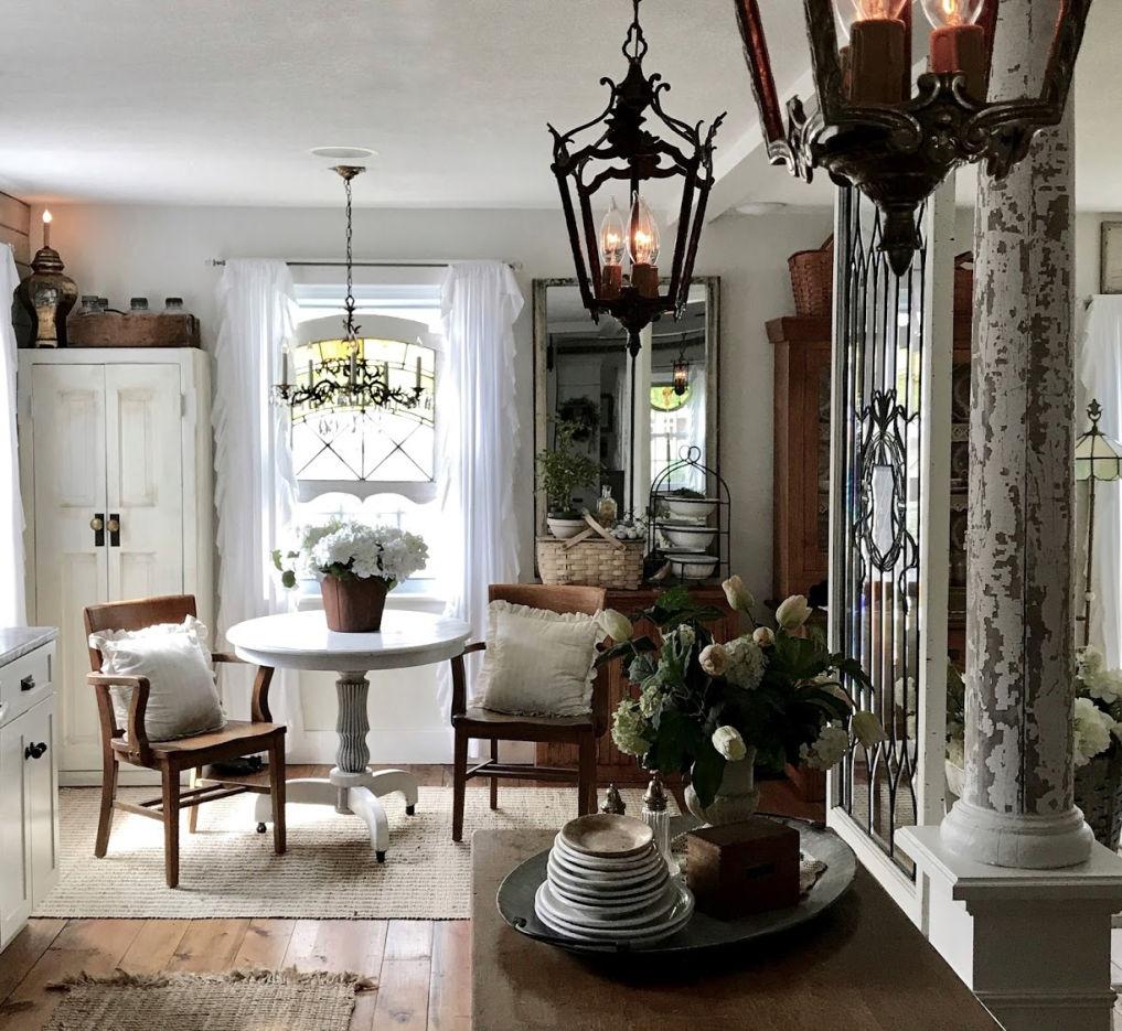 Kitchen filled with antique pieces #vintagedecor #vintagekitchen #kitchendecor #neutraldecor #neutralkitchen #farmhousekitchen