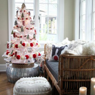Advent Calendar Christmas Tree kellyelko.com #christmas #christmastree #adventcalendar #christmasornaments #diyornaments #diychristmasdecor #whitetree #whitechristmastree #flockedtree #christmasdecorations