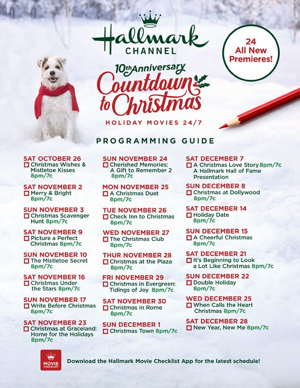 Hallmark Countdown to Christmas movie schedule
