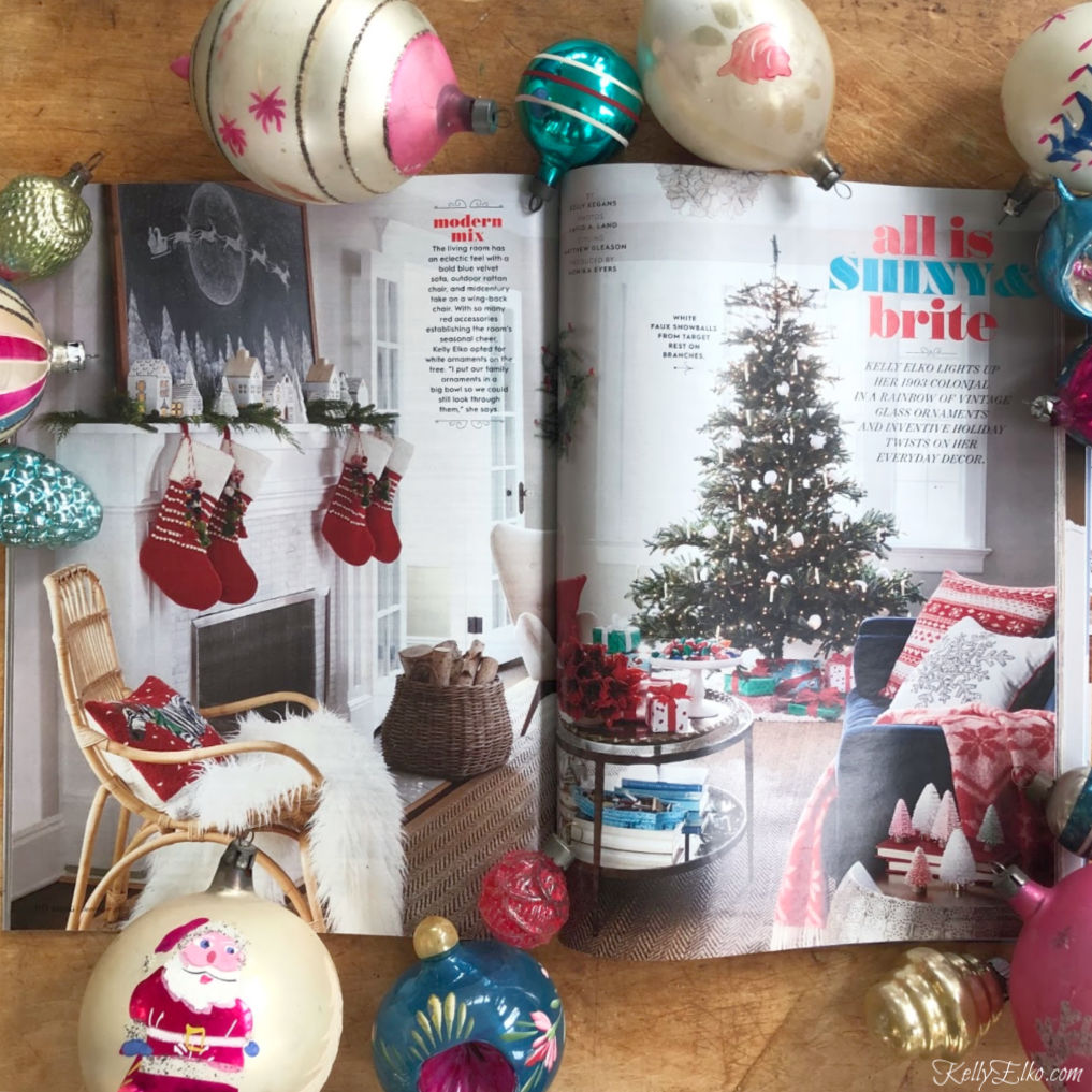 Better Homes & Gardens featuring the beautiful home of Kelly Elko kellyelko.com #bhgchristmas #christmasdecor #christmasdecorating #christmasmantel #vintagechristmas #vintageornaments