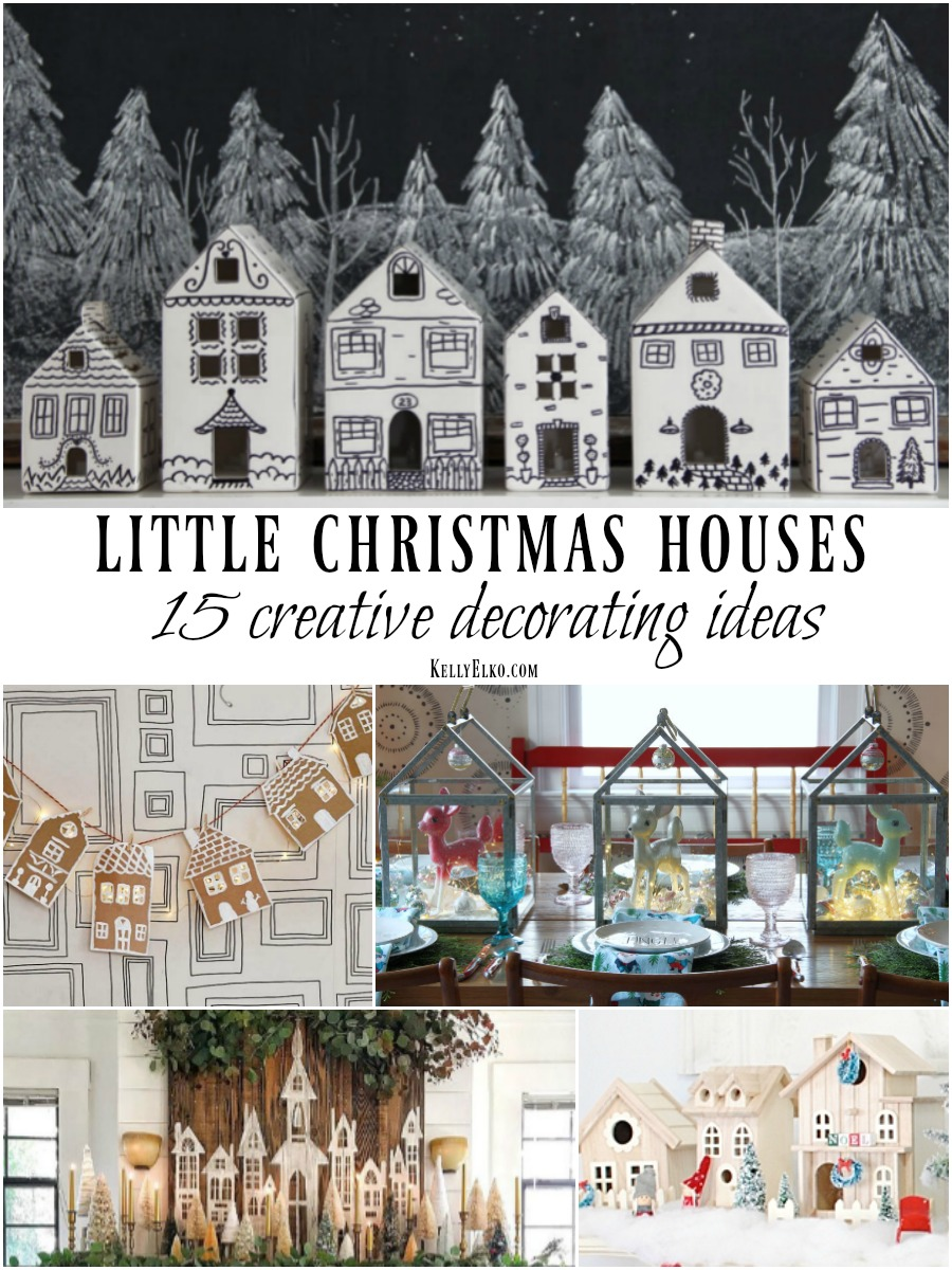 Little Christmas Houses Decorating Ideas - 15 creative crafts and decor ideas to jazz up your house for Christmas kellyelko.com #christmas #christmashouses #christmascrafts #christmasdecor #christmasdiy #diychristmas #ceramichouses #craft #kidcrafts #christmascenterpiece #christmasmantel #christmasgarland #farmhousechristmas #repurposechristmas #kellyelko