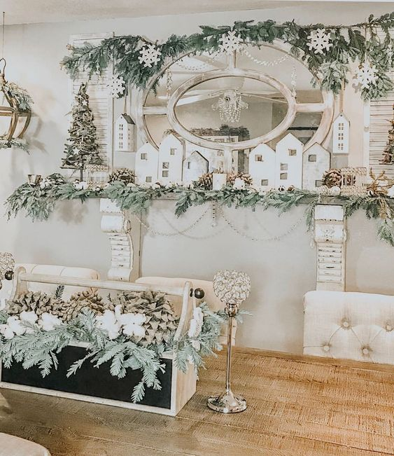 Love this Christmas village mantel kellyelko.com #christmasdecor #christmasmantel #farmhousechristmas #christmasdecorating #kellyelko