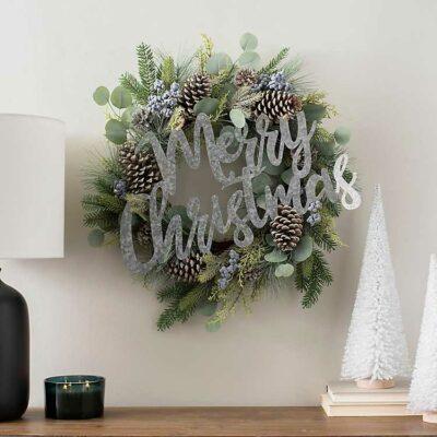 How to turn plain wreaths into Christmas wreaths kellyelko.com #christmas #christmasdecor #diychristmas #christmaswreaths #diywreaths #christmasdecorideas