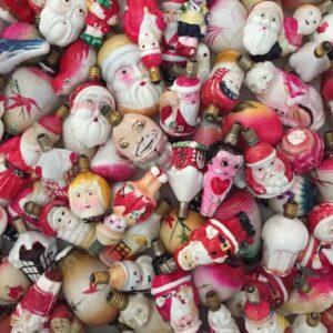 Vintage Milk Glass Figural Light Bulbs - a fun Christmas collectible kellyelko.com #christmas #christmasornaments #christmaslights #vintagechristmas #vintagecollections #vintage #vintagedecor #collections #christmas #figuralbulbs #milkglass #collectors