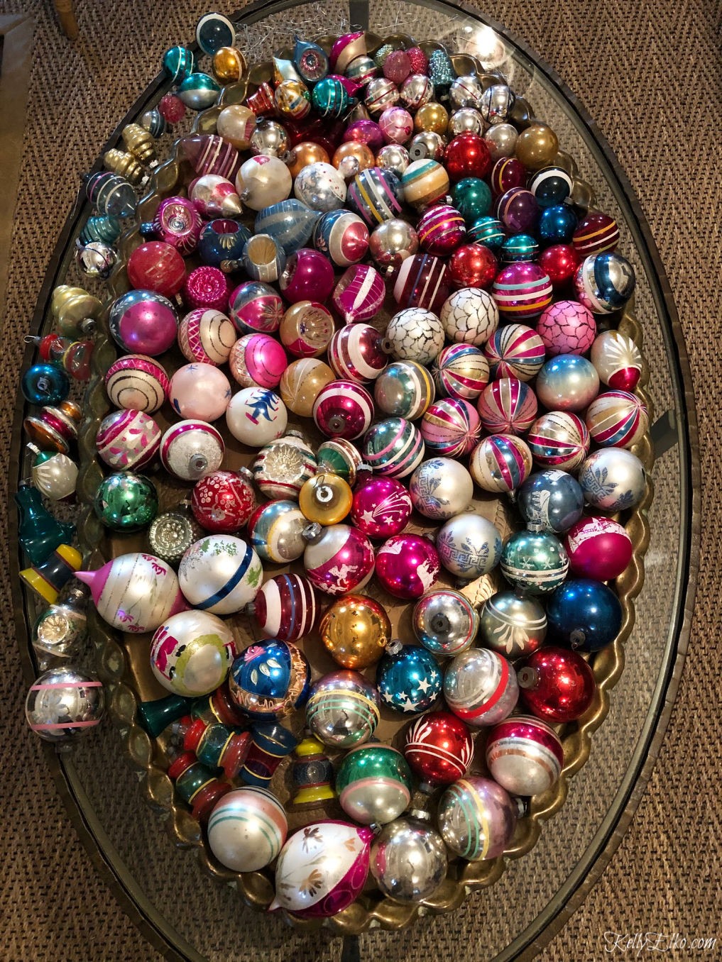 Huge collection of vintage glass ornaments kellyelko.com #shinybrites #vintageornaments #vintagechristmas #christmasornaments #vintage #christmasdecor