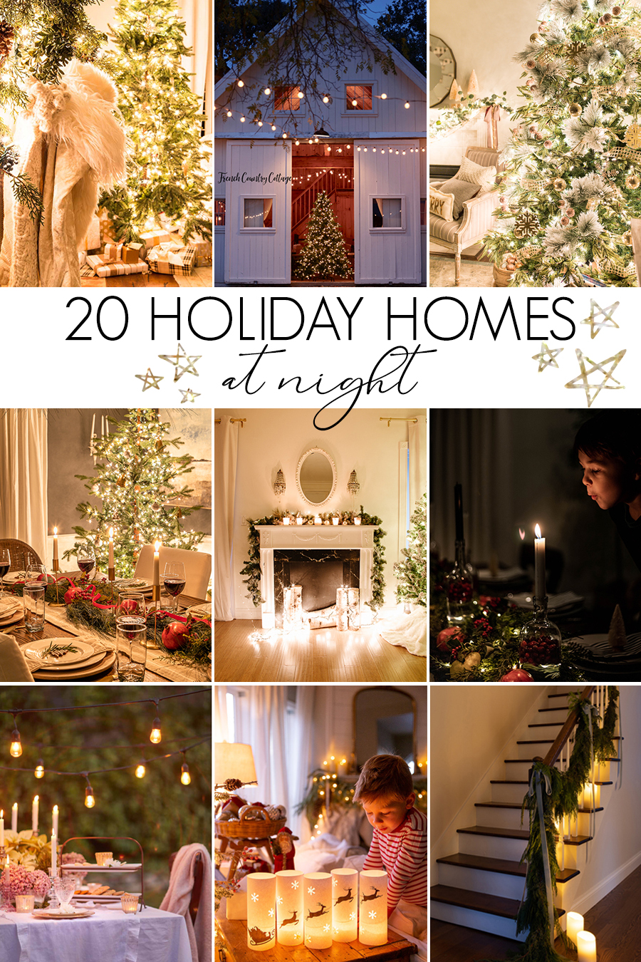 20 Christmas Home Tours at Night kellyelko.com #christmas #christmasnightstour #christmasdecor #christmaslights #farmhousechristmas #kellyelko