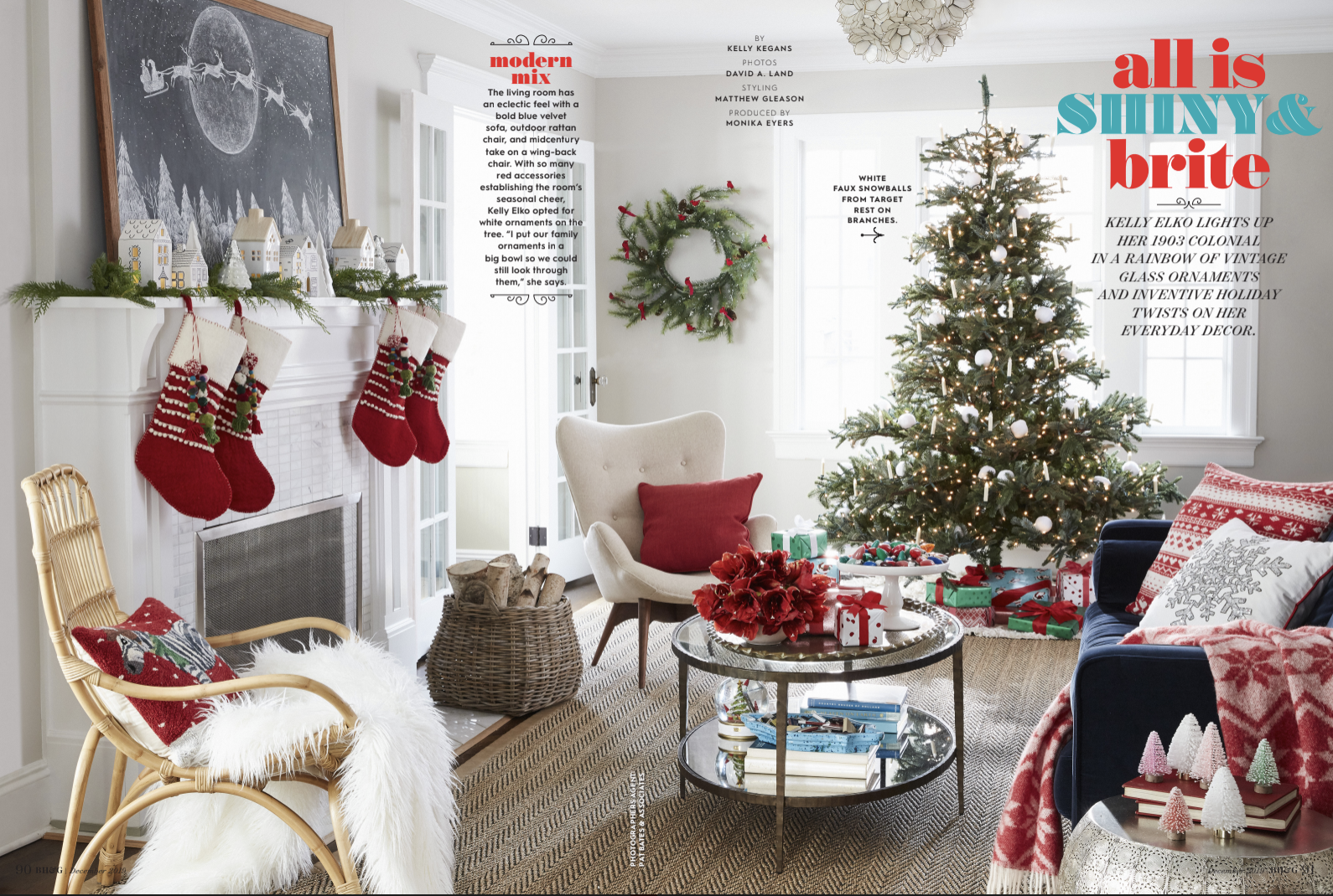 Better Homes & Gardens Christmas feature kellyelko.com #christmasideas #christmasdecor #christmasdecorations #christmashome #christmashometour #christmastree #farmhousechristmas #vintagechristmas #christmasmantel #christmaschalkboard #chalkart #christmasstockings #christmaslivingroom