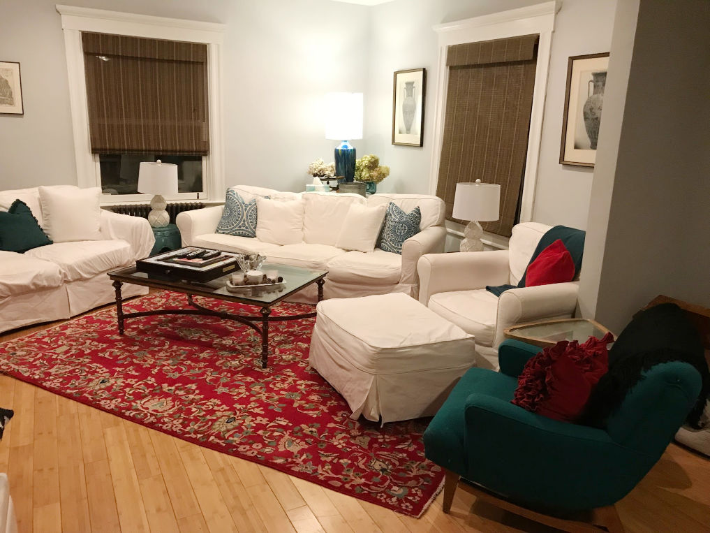 Before! Angled, overstuffed furniture is too large for this small space kellyelko.com #before #familyroom #furnitureplacement #beforeafter