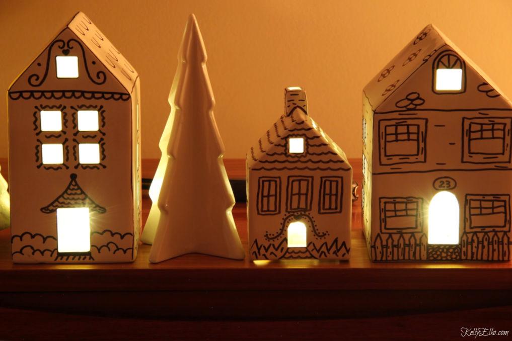DIY doodle houses for Christmas kellyelko.com #christmasdecor #christmascrafts #kidschristmas #diychristmas #crafts #ceramichouses #christmasideas #doodle #farmhousechristmas #kellyelko