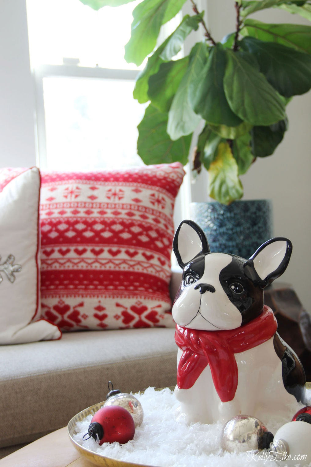 How adorable is this little Boston Terrier cookie jar on a bed of snow for Christmas kellyelko.com #christmas #christmasdecor #christmasdecorating #christmashome #christmastour #diychristmas #christmasideas #christmasmantel #christmastree #christmasornaments #vintagechristmas #farmhousechristmas #colorfulchristmas #creativechristmas #kellyelko #bostonterrier #frenchbulldog #diychristmas