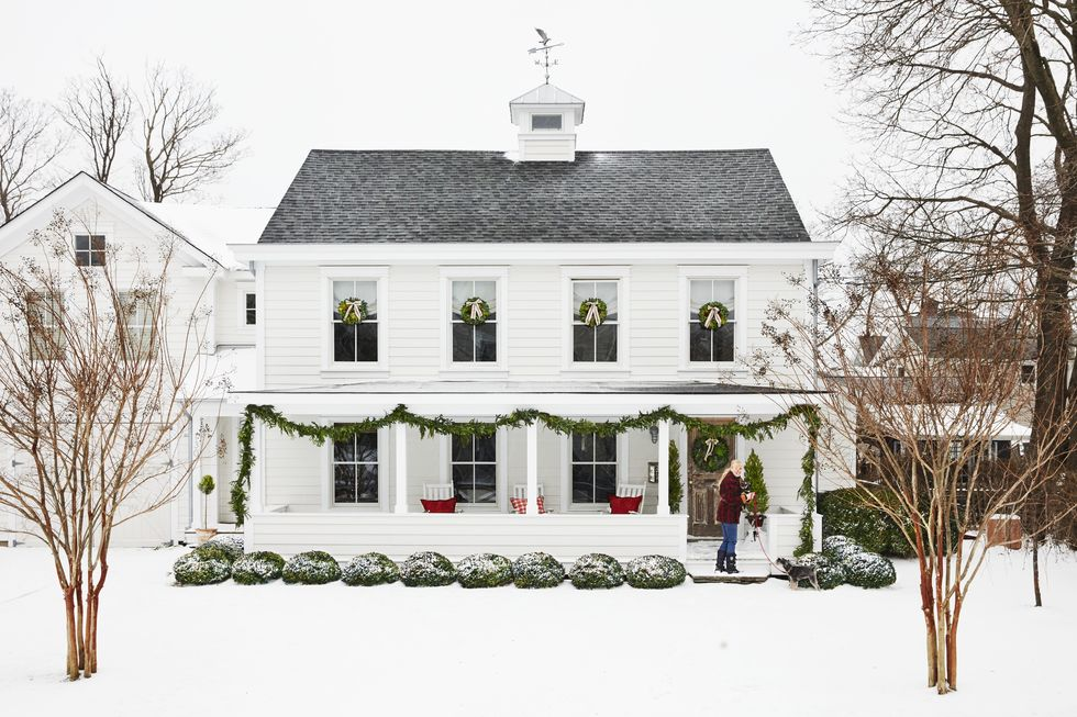 Beautiful farmhouse in the snow