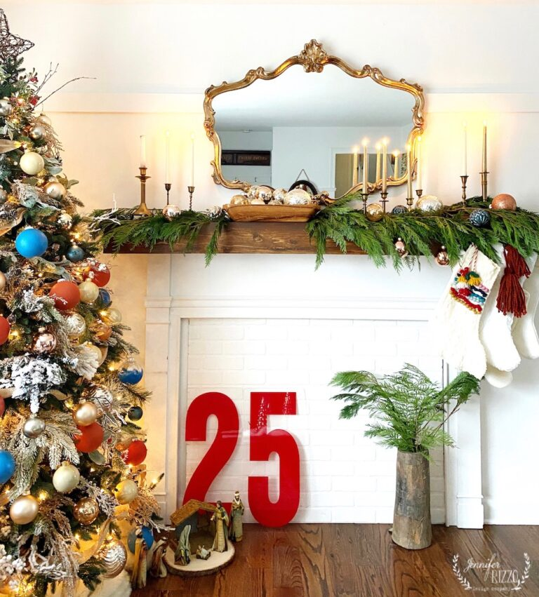 Vintage Sign Christmas Mantel with cedar garland #christmas #christmasmantel #vintagechristmas #christmasdecor #christmasdecorating #christmasstocking #farmhousechristmas