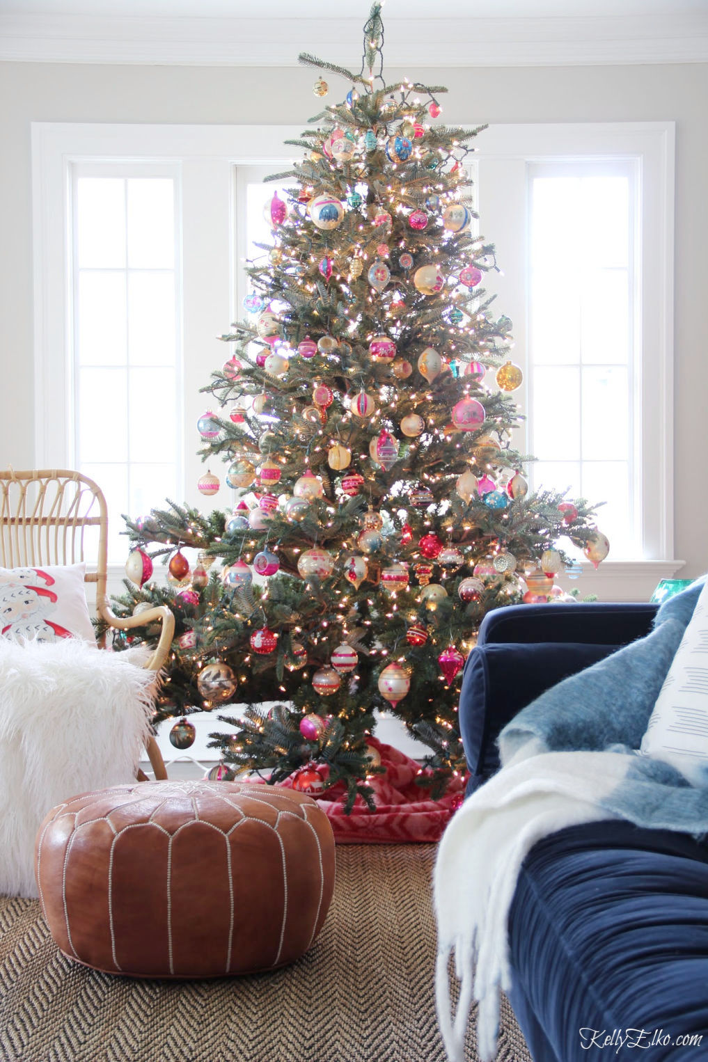 Beautiful Christmas home tour with a tree covered in hundreds of vintage ornaments! kellyelko.com #christmas #christmasdecor #christmasdecorating #christmashome #christmastour #diychristmas #christmasideas #christmasmantel #christmastree #christmasornaments #vintagechristmas #farmhousechristmas #colorfulchristmas #creativechristmas #kellyelko #shinybrites #vintageornaments