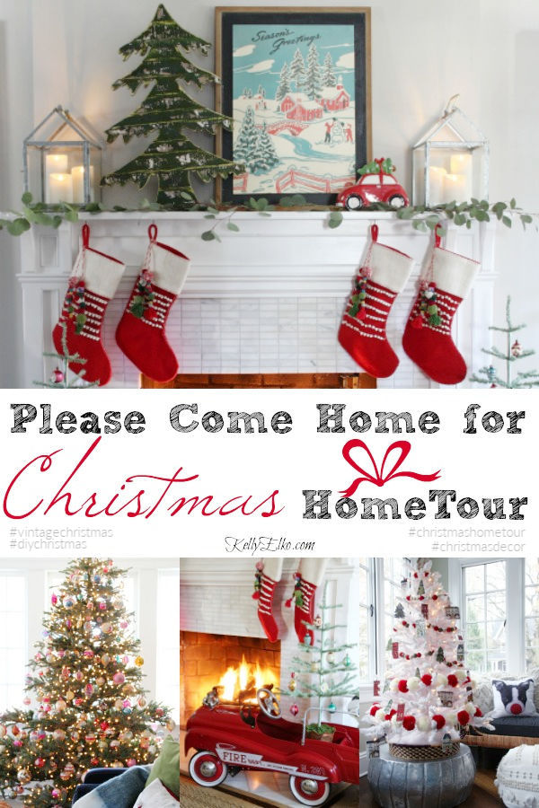 Come Home for Christmas Home Tour - love her whimsical mix of old and new kellyelko.com #christmas #christmasdecor #christmasmantel #christmastrees #vintagechristmas #vintagedecor #christmasstockings #christmashometour #kellyelko #colorfulchristmas