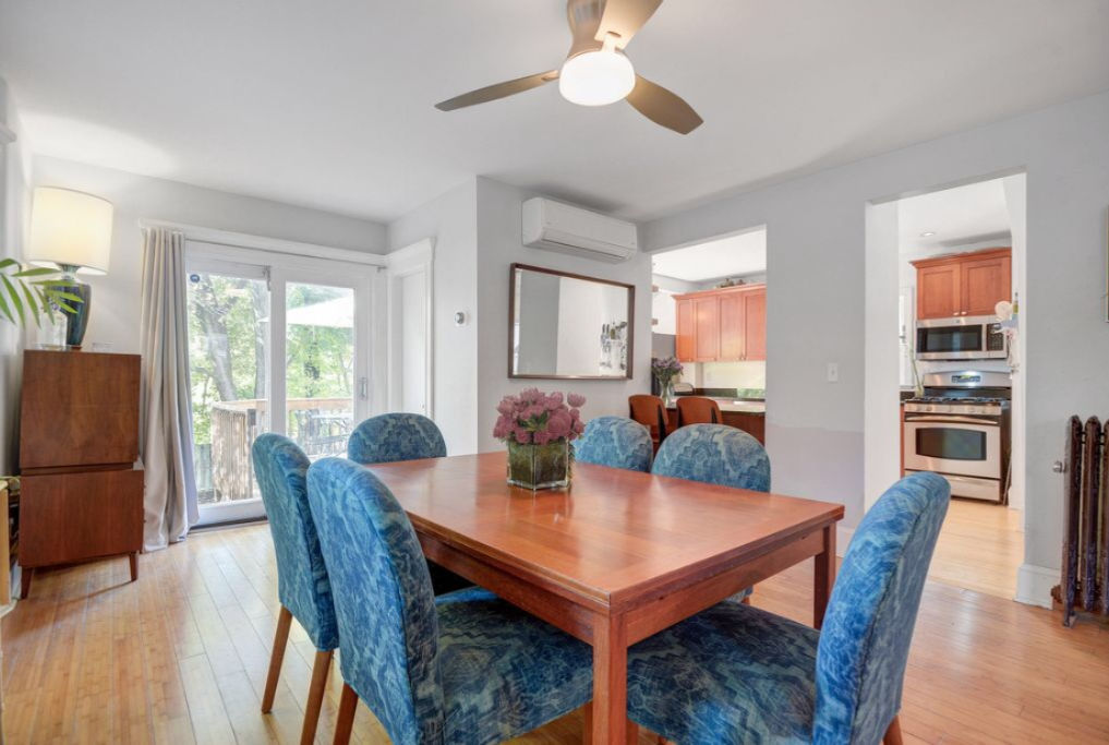 Dining room with blue upholstered chairs kellyelko.com #diningroom #diningroomdecor #diningroomchairs #upholsteredchairs #targetfurniture #targetstyle